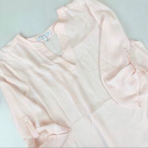 Chaus Pink Sheer Tab Sleeve Top Size Medium
